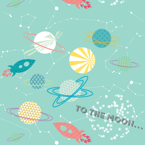 To the moon... fabric by allisonkreftdesigns on Spoonflower - custom fabric