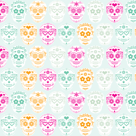 Sugar Skulls Day of the Dead fabric by allisonkreftdesigns on Spoonflower - custom fabric