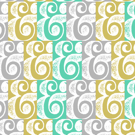 woodblock ampersand fabric by allisonkreftdesigns on Spoonflower - custom fabric