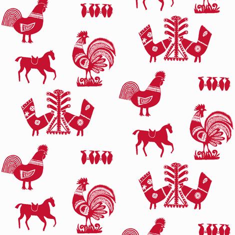 Folk Barnyard III fabric by relative_of_otis on Spoonflower - custom fabric