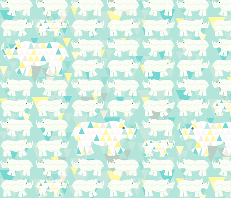 Rhinos in a row fabric by allisonkreftdesigns on Spoonflower - custom fabric