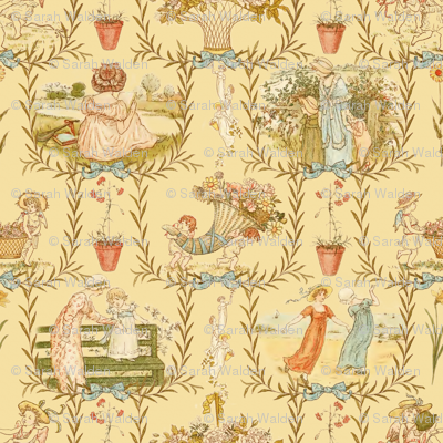 Kate Greenaway Toile ~ Language of the Flowers