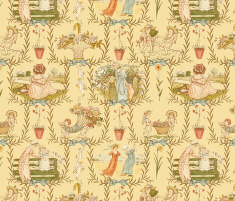 Kate Greenaway Toile ~ Language of the Flowers fabric by peacoquettedesigns on Spoonflower - custom fabric