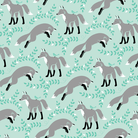 Socks the Fox - Aqua fabric by pattysloniger on Spoonflower - custom fabric