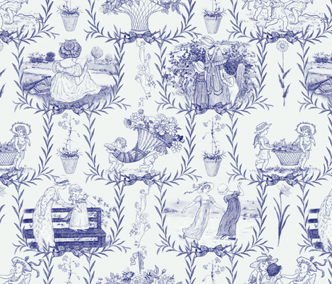 Kate Greenaway Blue and White Toile ~ Language of the Flowers fabric by peacoquettedesigns on Spoonflower - custom fabric