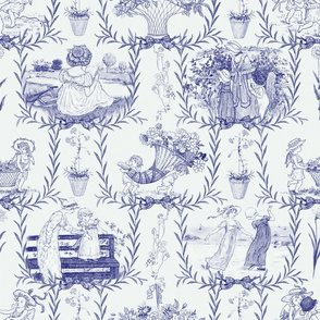 Kate Greenaway Blue and White Toile ~ Language of the Flowers
