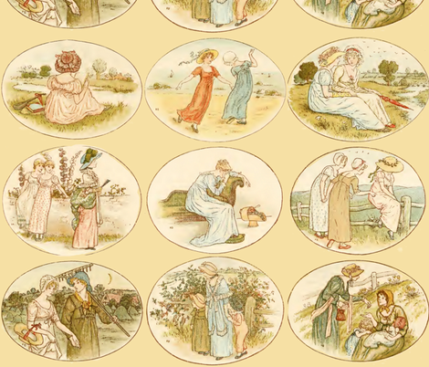 Kate Greenaway  ~ Language of the Flowers fabric by peacoquettedesigns on Spoonflower - custom fabric
