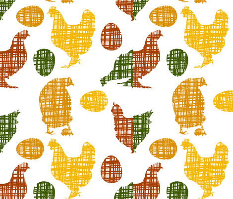 Crosshatched Chickens fabric by fussypants on Spoonflower - custom fabric