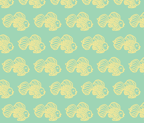Fish aqua fabric by painter13 on Spoonflower - custom fabric