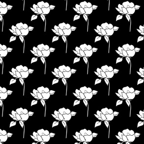 '50s Roses in white on black