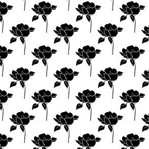 '50s Roses in black on white