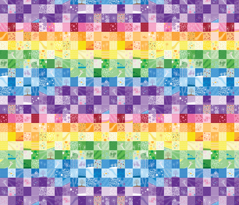 Rainbow Quilt (Small Scale - wave pattern) fabric by sew-me-a-garden on Spoonflower - custom fabric