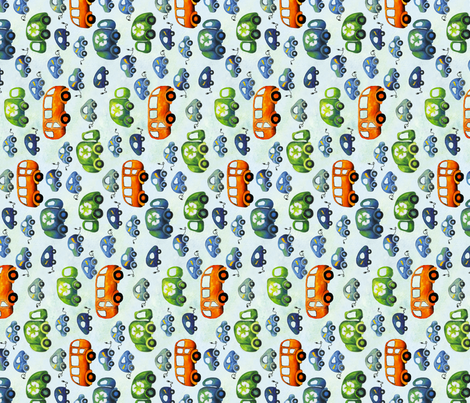 Green Wheels Vertical fabric by fussypants on Spoonflower - custom fabric
