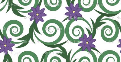 Flowering vines -- in greens and violet