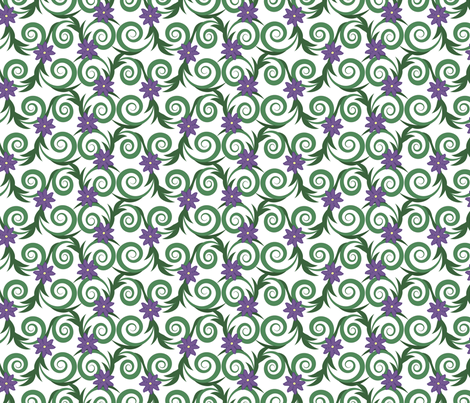 Flowering vines -- in greens and violet fabric by bargello_stripes on Spoonflower - custom fabric