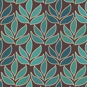 Leaf Texture Fabric new crop-bluegreen minagreen brown 1 small