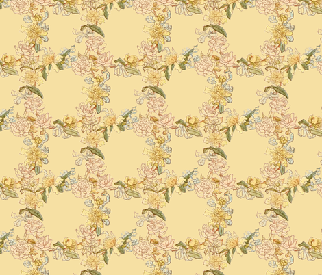 Kate Greenaway Floral Circles ~ Language of the Flowers fabric by peacoquettedesigns on Spoonflower - custom fabric