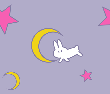 Usagi's Bed Sheets - Sailor Moon - Rabbit Moon Star fabric by starlinehodge on Spoonflower - custom fabric