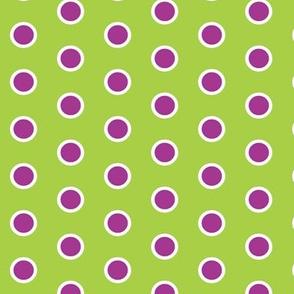 Frosty Violet Polka Dot on Lime Green