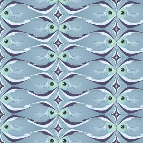 Fishkiss (blue) fabric by bippidiiboppidii on Spoonflower - custom fabric