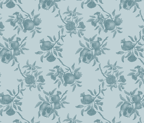Pomegranate Trellis - Blue/Green fabric by gail_mcneillie on Spoonflower - custom fabric