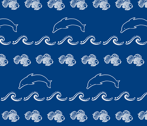Jumping Dolphin dark blue fabric by painter13 on Spoonflower - custom fabric