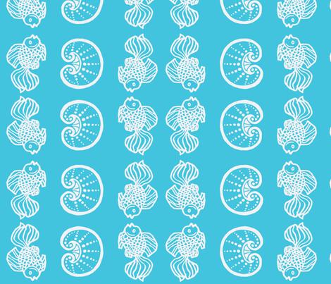 Fish & Shells blue fabric by painter13 on Spoonflower - custom fabric