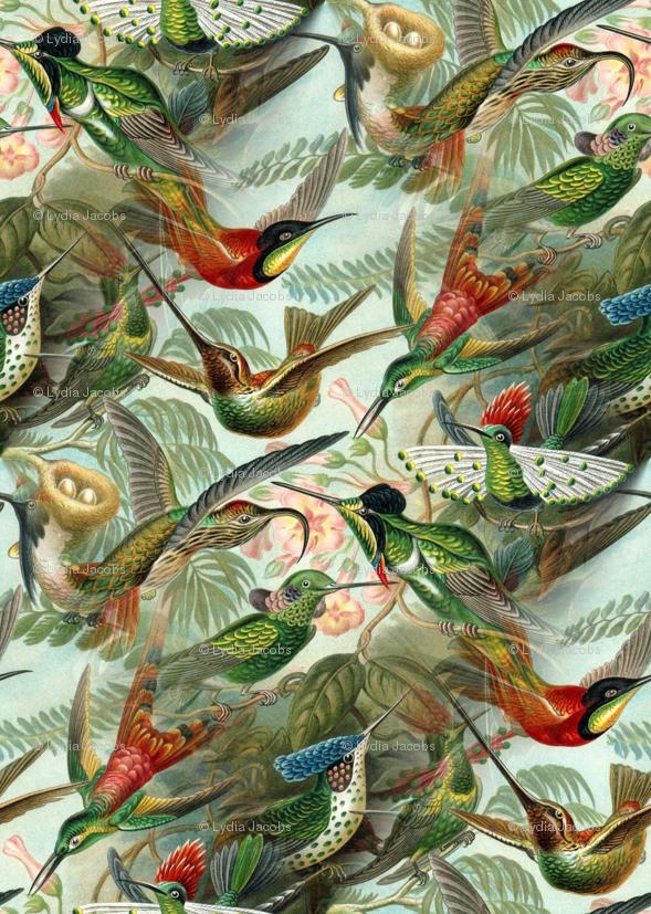 Vintage Hummingbird Pattern Small Wallpaper