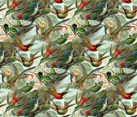 Vintage Hummingbird Pattern (small) fabric by lyddiedoodles on Spoonflower - custom fabric