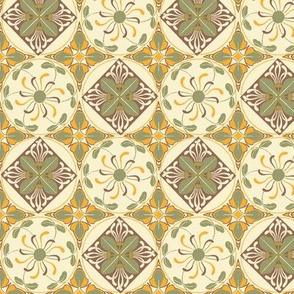 Art Nouveau Wallflowers Checker - rust and leaves