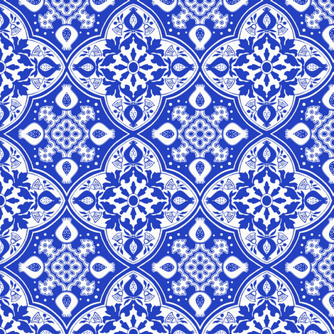 Pomegranate Delft fabric by poetryqn on Spoonflower - custom fabric