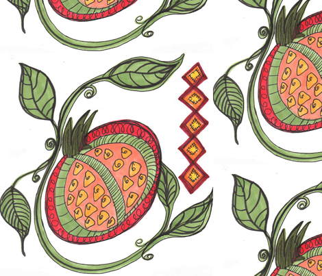 Pomegranate with Orange Seeds fabric by kimberlybaxter_packwood on Spoonflower - custom fabric