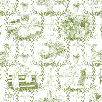 Kate Greenaway Toile ~ Green & White ~ Language of the Flowers