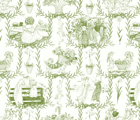 Kate Greenaway Toile ~ Green & White ~ Language of the Flowers fabric by peacoquettedesigns on Spoonflower - custom fabric