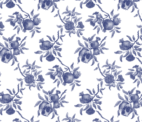 Pomegranate Trellis - Blue on White fabric by gail_mcneillie on Spoonflower - custom fabric