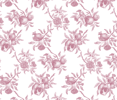 Pomegranate Trellis - Pink on White fabric by gail_mcneillie on Spoonflower - custom fabric