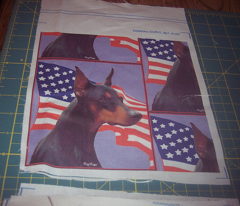Doberman Pinscher with Flag