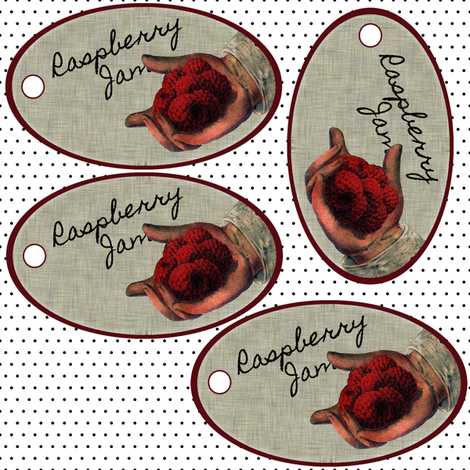 Raspberry Jam tags fabric by glanoramay on Spoonflower - custom fabric