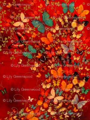 Butterflies on Red