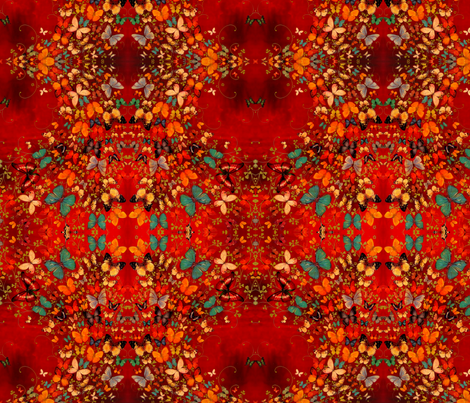 Butterflies on Red fabric by lilygreenwood on Spoonflower - custom fabric