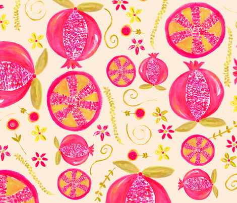 Painted Pomegranate fabric by nancierowejanitz on Spoonflower - custom fabric