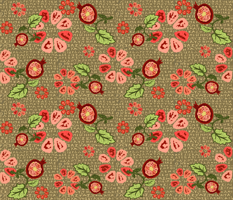 PersephonesPomegranates fabric by catail_designs on Spoonflower - custom fabric