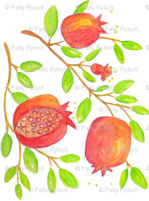 Pomegranate Branches (watercolor)
