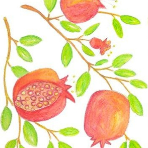 Pomegranate Branches (watercolor)
