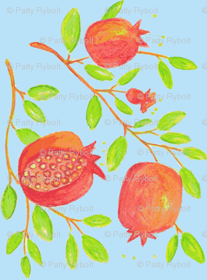 Pomegranate Branches (watercolor- sky blue)