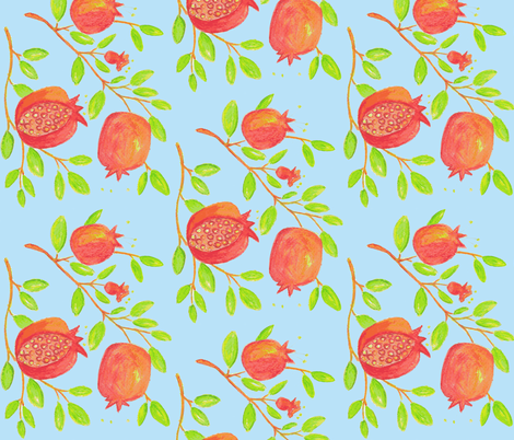 Pomegranate Branches (watercolor- sky blue) fabric by pattyryboltdesigns on Spoonflower - custom fabric