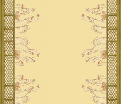 Kate Greenaway Halloooo! Border Print ~ Language of the Flowers fabric by peacoquettedesigns on Spoonflower - custom fabric