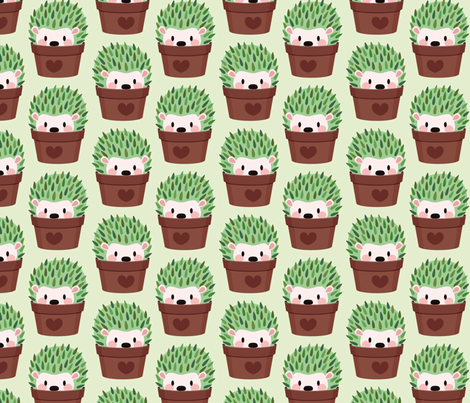 Smaller Hedgehogs disguised as cactuses fabric by petitspixels on Spoonflower - custom fabric
