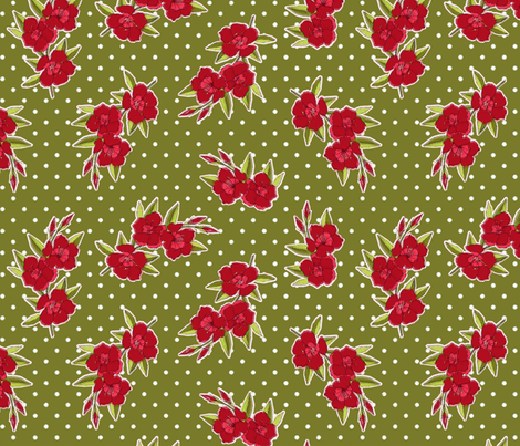 Mad Men Inspired- Vintage Red Flowers on Green with Dots fabric by stitchwerxdesigns on Spoonflower - custom fabric