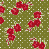 Mad Men Inspired- Vintage Red Flowers on Green with Dots